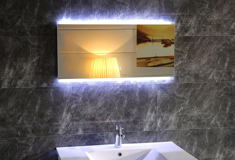 Design LED-Beleuchtung Badspiegel GS043 Lichtspiegel Wandspiegel mit Touch-Schalter Tageslichtweiß IP44 (90 x 60 cm)