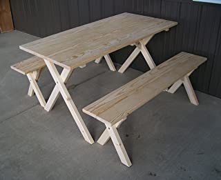 product image for 5 Foot Naturally Unfinished Economy Picnic Table with 2 Benches Amish Made USA