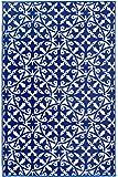 Fab Hab Reversible Outdoor/Indoor Rug | Perfect for Decking, Garden, Patio | Mold, Mildew, UV & Stain Resistant | San Juan - Dark Blue (90 cm x 150 cm)