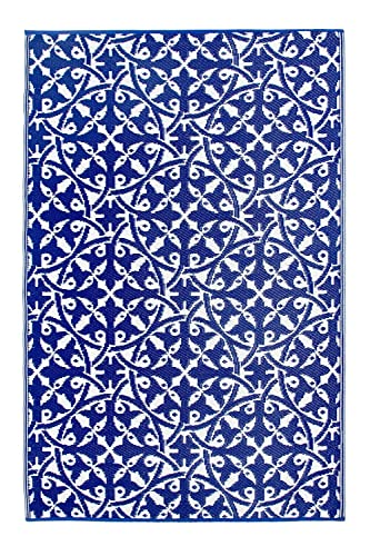 Fab Habitat Reversible, Indoor Outdoor Weather Resistant Floor Mat Rug – San Juan – Dark Blue 6 x 9