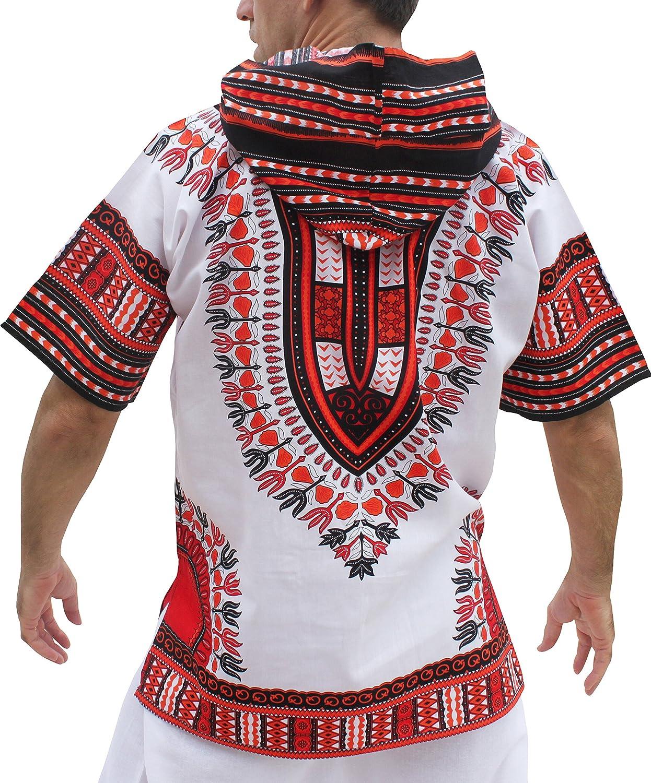 Full Funk Dashiki Light Hoody in White Base Colors Festival Party Shirt Short Sleeve