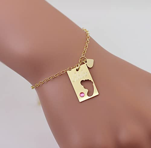 Baby Shower Gift Newborn Necklace Family Jewelry Gold Silver Rose Gold Tiny Baby Feet Charm Necklace New Mom to Be Gift Baby Imprint