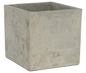 Classic Home and Garden 3/0935/1 ConSq Natural Cement Square Planter 8 inch, 8""