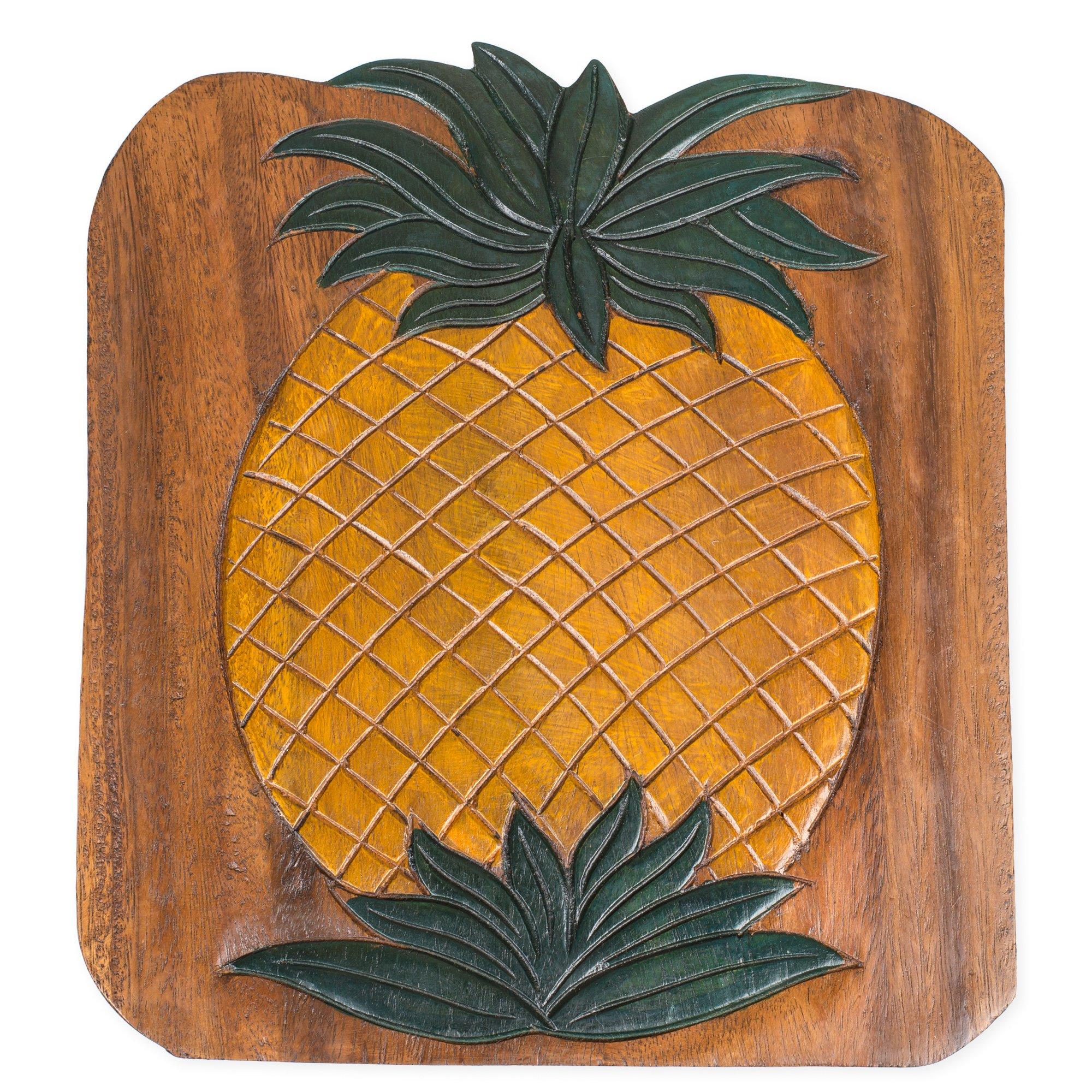 Pineapple Design Hand Carved Acacia Hardwood Decorative Short Stool by Sea Island (Image #4)