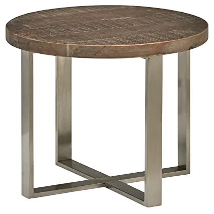 Amazoncom Stone Beam Culver Reclaimed Wood Side Table D - Steel and wood side table