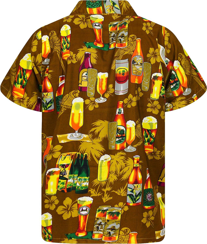 V.H.O Funky Hawaiian Shirt Men Short Sleeve Front-Pocket Beerbottle Multiple Colors
