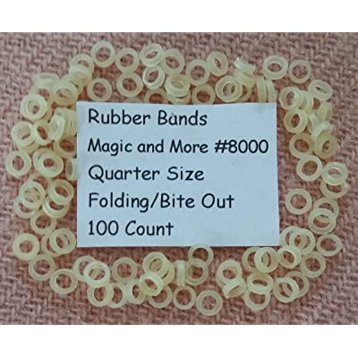 Rubber Bands for Magic Coins, Folding & Bite Out Quarters, Lot of 100 (8000): Toys & Games