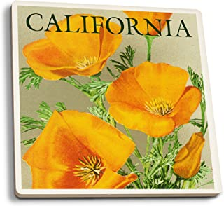 product image for Lantern Press California - Poppies (Set of 4 Ceramic Coasters - Cork-Backed, Absorbent)