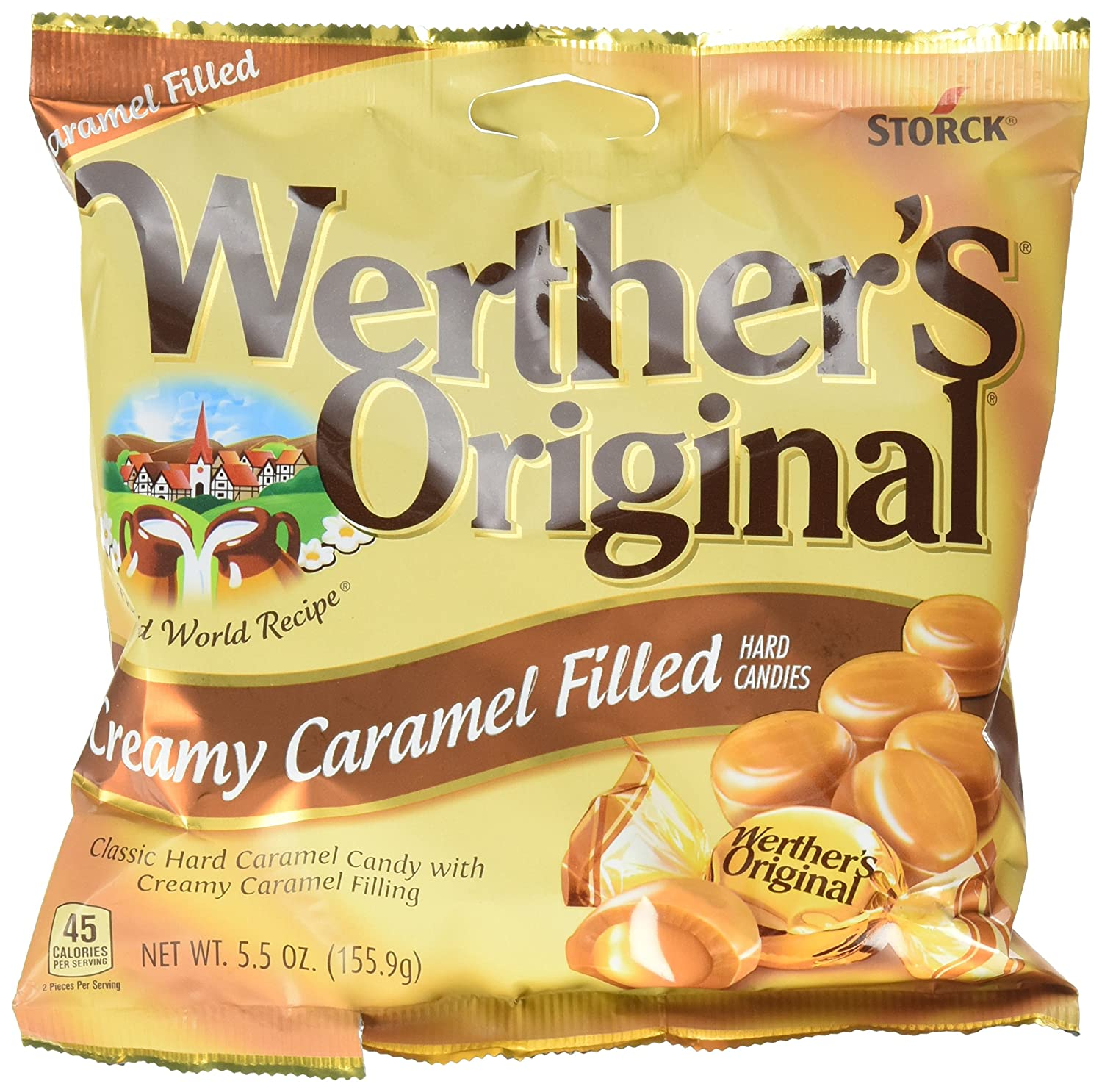 WERTHER'S ORIGINAL Creamy Caramel Filled Hard Candies, Individually Wrapped Candy, 5.5 Ounce Bag