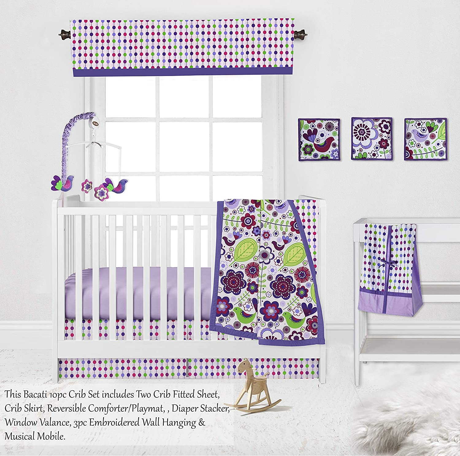 Botanical Purple//Multi 10-Piece Nursery-in-a-Bag Girls Crib Bedding Set 100 Percent Cotton with 2 Crib Fitted Sheets Bacati Bumper Pad not Included