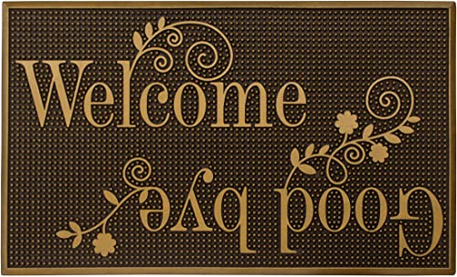 Storm Stopper Painted Rubber, Gold Indoor Outdoor Welcome Goodbye Mat