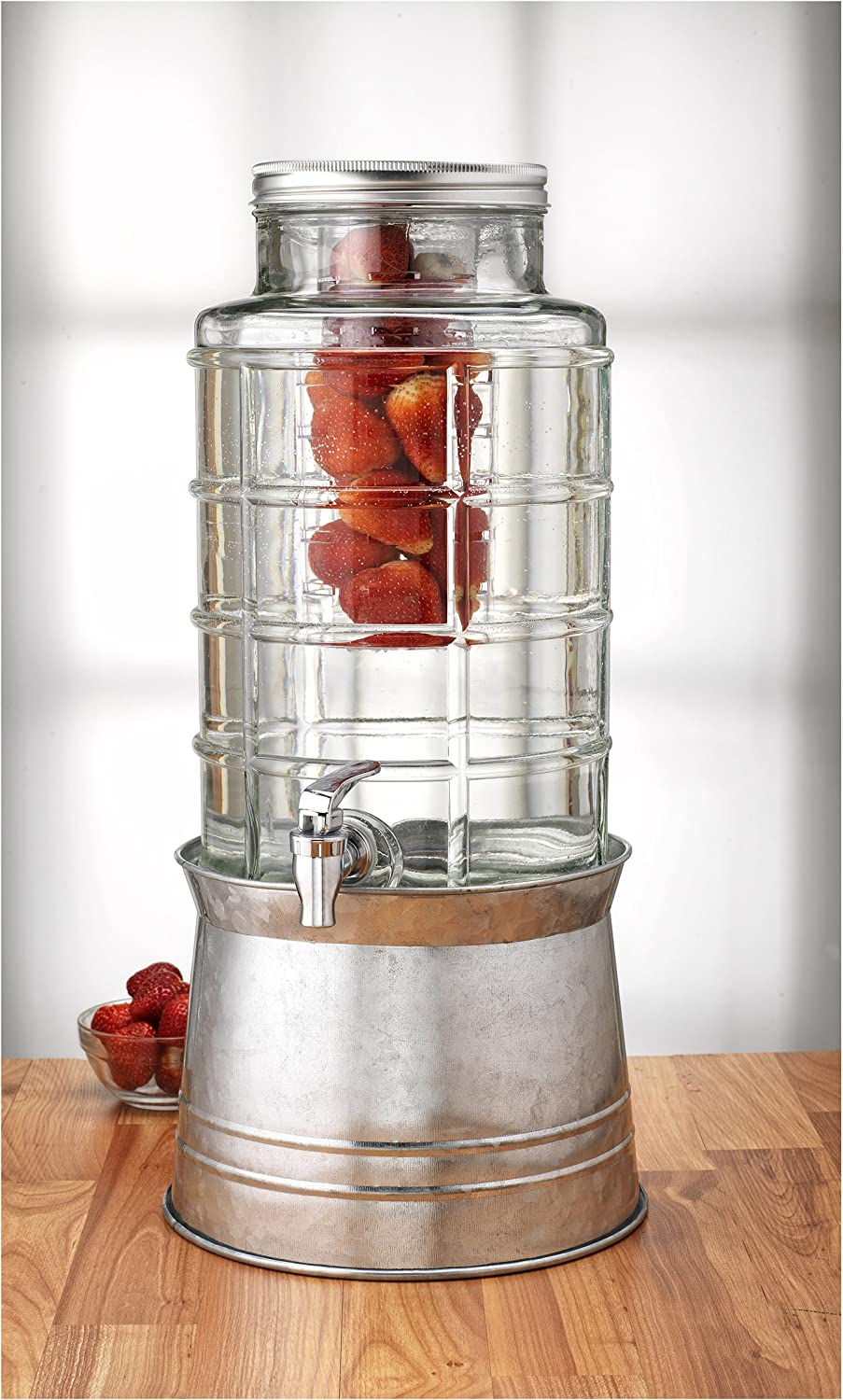 Circleware Big Window Beverage Dispenser with Stand, 2.4 gallon, Clear