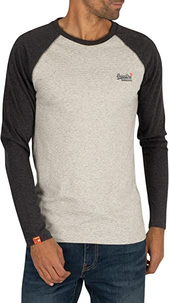 Superdry Orange Label Texture Baseball Ls Top Long Sleeve T Shirt