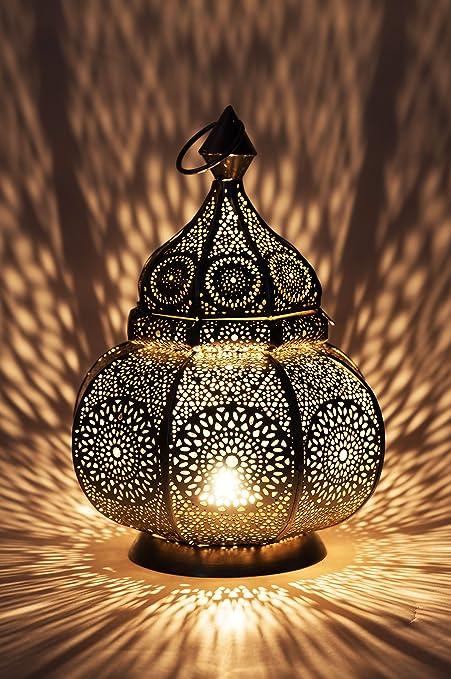 Petite Lanterne marocaine en métal Ziva 30cm argenté   Photophore marocain pour l'extérieur au jardin ou l'intérieur sur la table   Lanternes pour