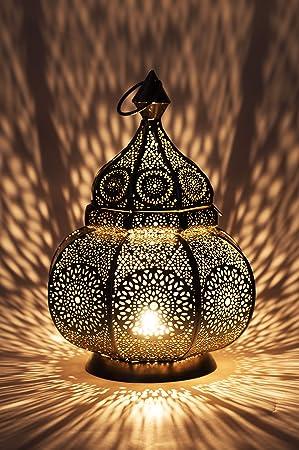 Petite Lanterne Marocaine En Metal Ziva 30cm Argente Photophore