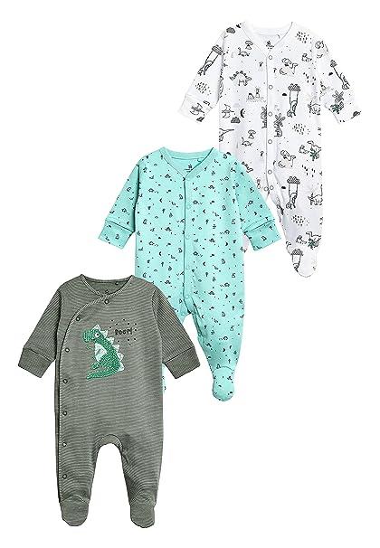 next Bebé-Niños Pack De Tres Pijamas Tipo Pelele De Dinosaurios (0 Meses -