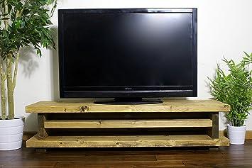 Mueble rústico de Madera Maciza Hecho a Mano de Madera de Pino Ashlett TV Unit/Stand, Acabado en Roble Grueso Country 180cm Long Medium Oak: Amazon.es: Electrónica