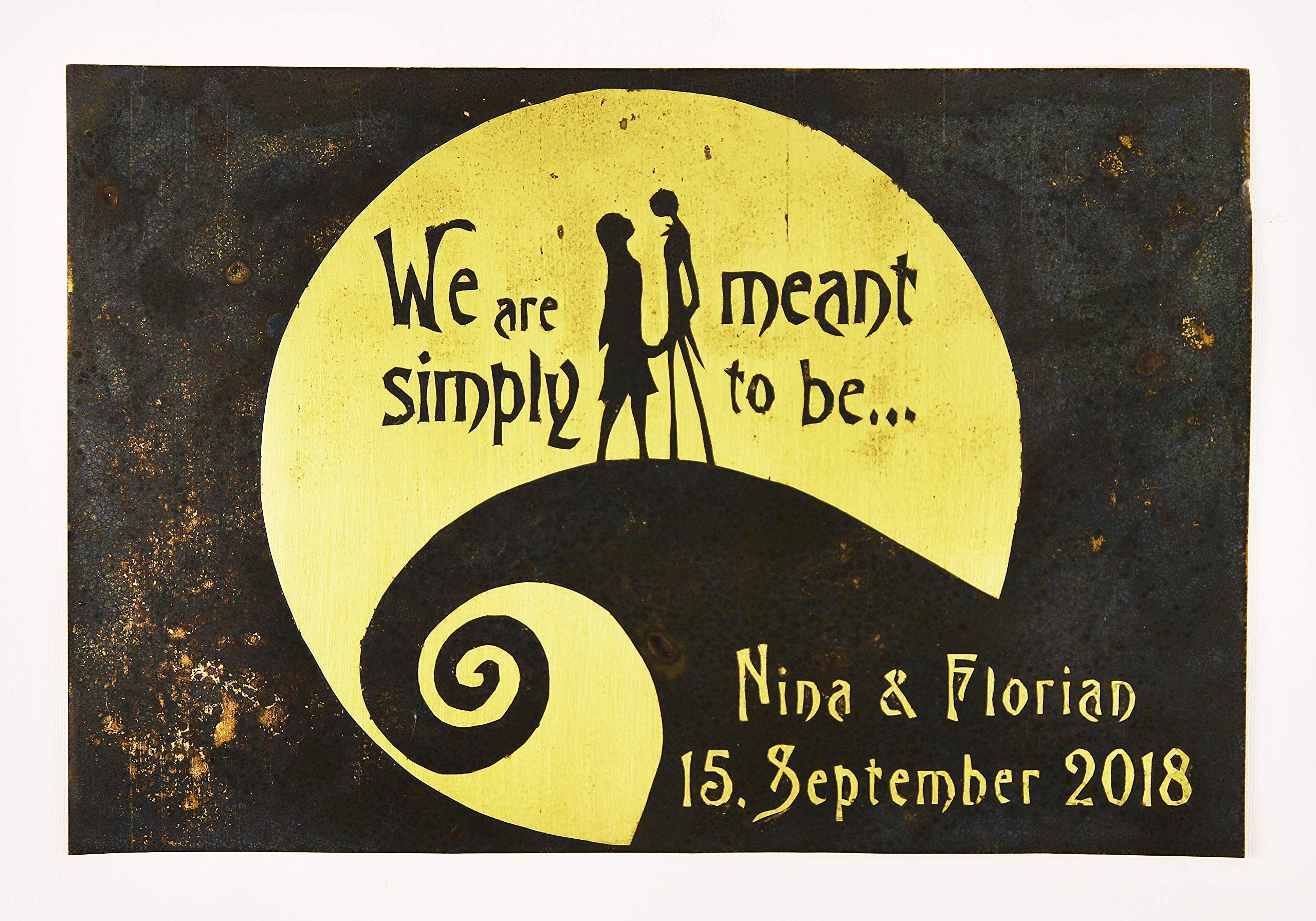 Nightmare Before Christmas Wedding Gift. Valentine's, Personalized, Jack and Sally, Wall Art. Capture Your Special Day in a Unique Way on Brass or Copper. Made for Love with Love 3
