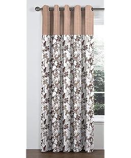 NESROR Brown Floral Design Polyester Eyelet Window Curtain (1 Piece, 5 Feet)