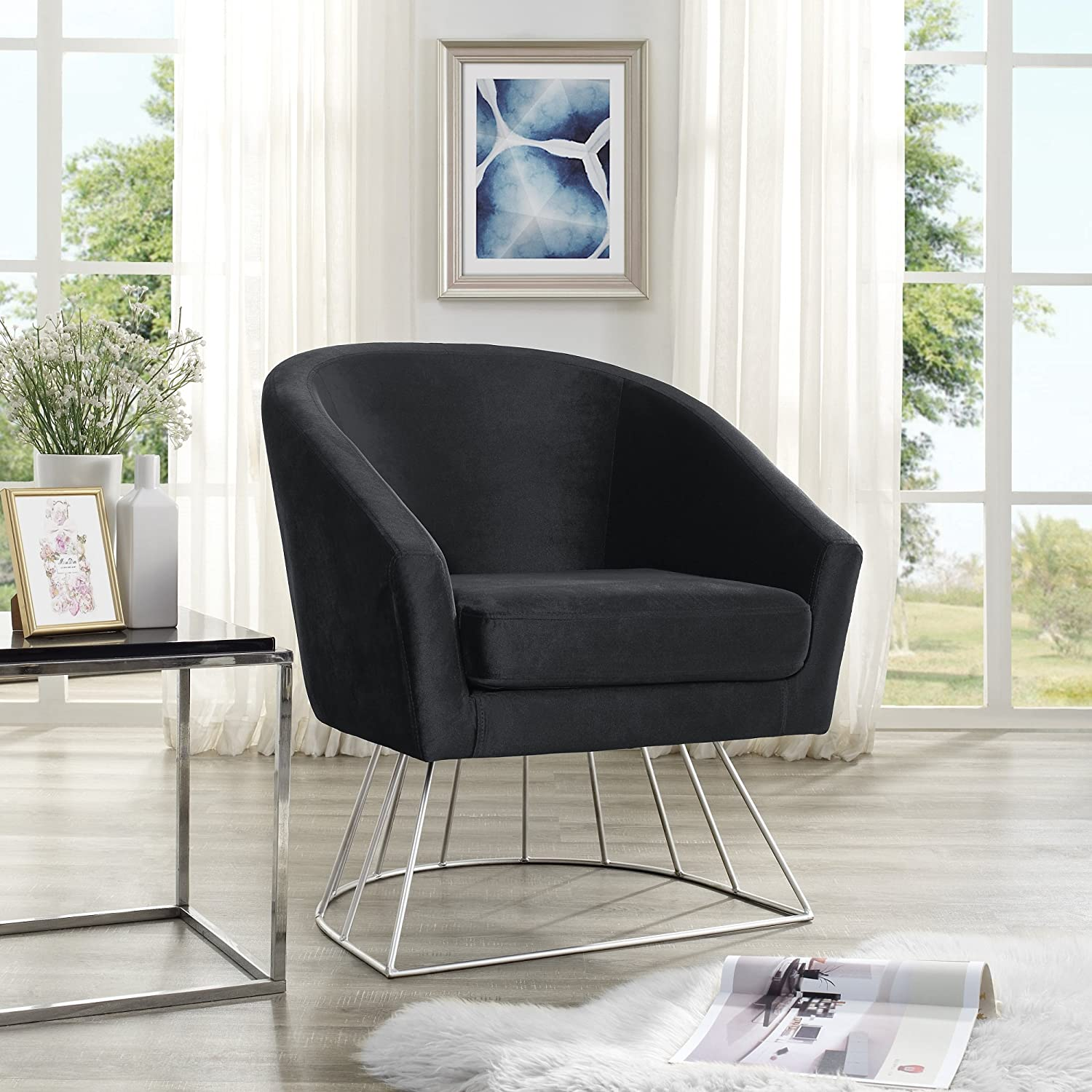 Admirable Amazon Com Adalene Black Velvet Accent Chair Silver Metal Caraccident5 Cool Chair Designs And Ideas Caraccident5Info