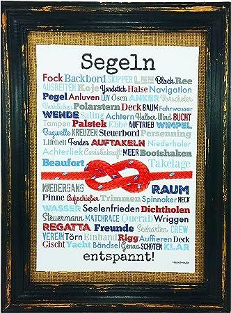 Segeln entspannt! Druck Poster A4 Geschenk AnneSvea Typo Deko maritim Yacht Jolle Regatta Preis Segelclub