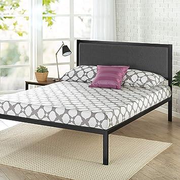 Black Queen Zinus Korey 14 Steel Platform Bed Frame with Upholstered Headboard and Wood Slat Support