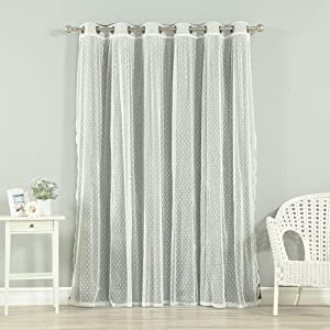 Best Home Fashion uMIXm Mix and Match Wide Width Dotted Tulle Lace and Blackout 2 Piece (One Blackout, One Tulle) Curtain Set – Antique Bronze Grommet Top – Dark Grey – 80