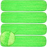 Microfiber Mop Pads 4 Pack - Reusable Washable Cloth Mop Head Replacements Best Thick Spray Wet Dust Dry Flat Velcro…