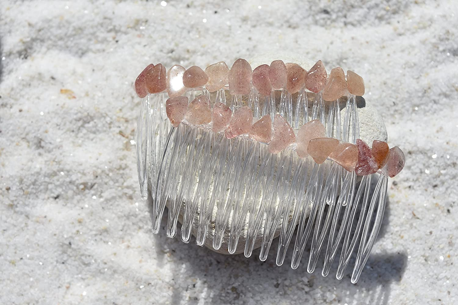 Red Aventurine Stone Hair Combs (Qty of 2)
