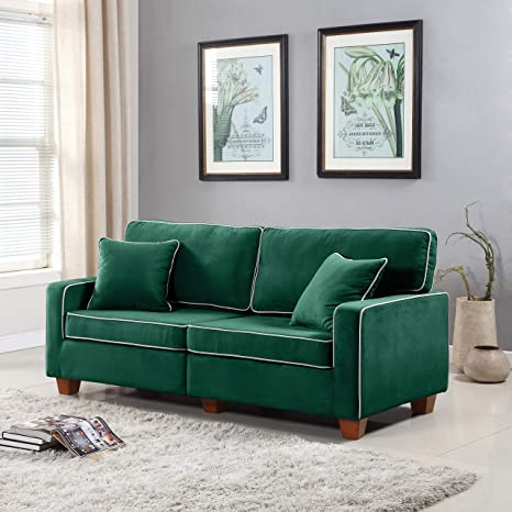 DIVANO ROMA FURNITURE Collection - Modern Two Tone Velvet Fabric Living Room Love Seat Sofa (Green)