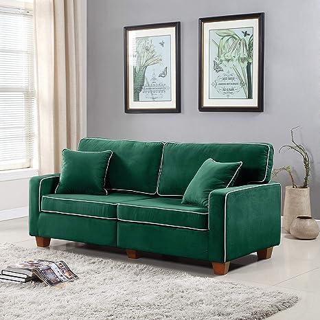 DIVANO ROMA FURNITURE Collection - Modern Two Tone Velvet Fabric Living Room Love Seat Sofa (Green)