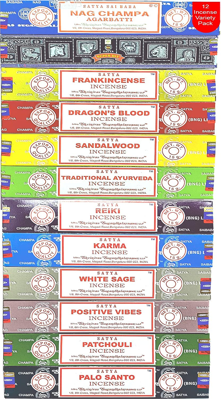 Nag Champa Incense Sticks Variety- Pack (12 Incents, 140+ Sticks) | 100% Original Handrolled Masala | Satya Incense BNG | For Stress Relief, Meditation Decor, Spiritual Decor & Home Fragrance Products