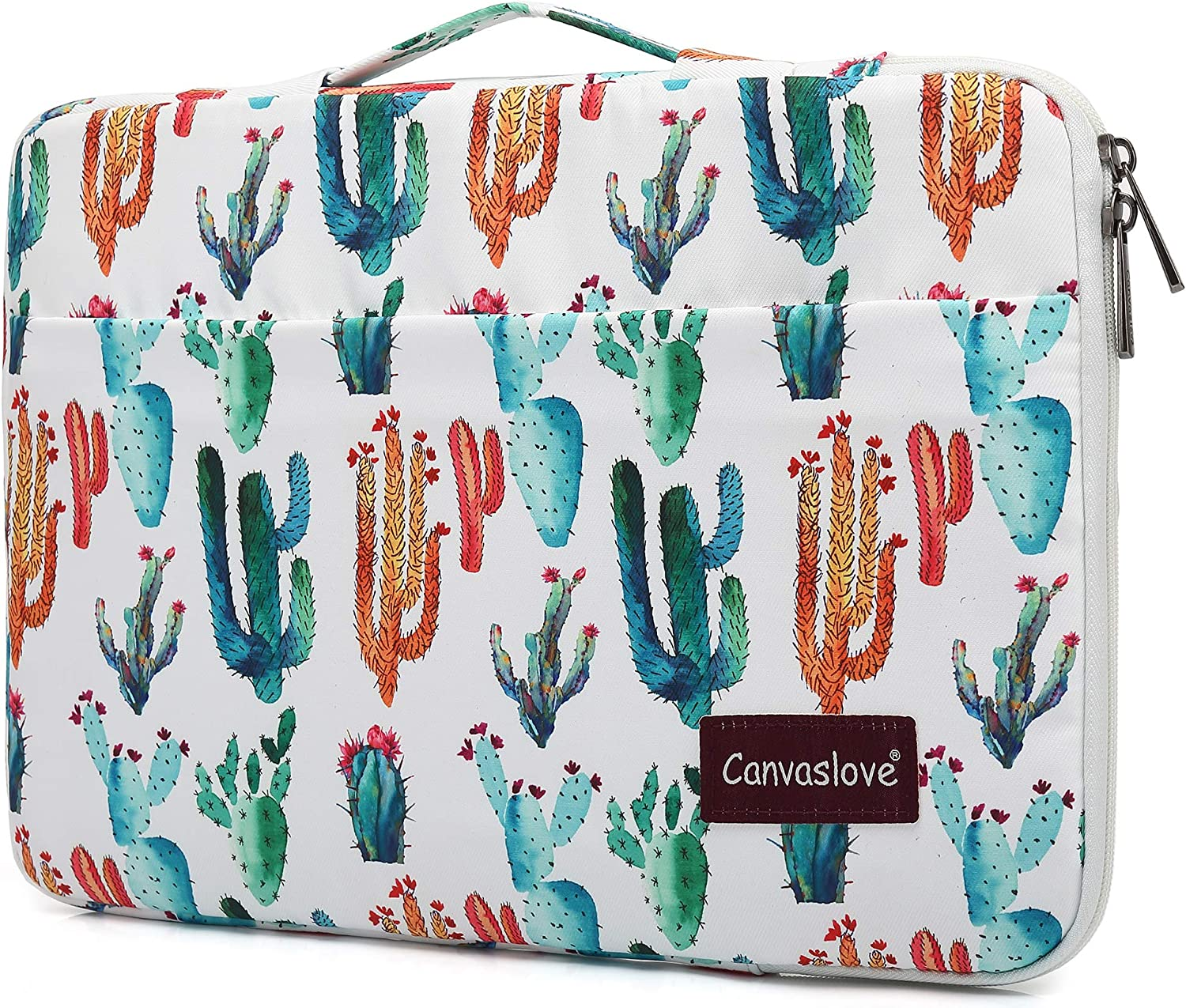 Canvaslove Cactus Pattern Conner Bottom Rebound Bubble Protection Waterproof Laptop Sleeve Case with Handle and Pockets for 15 Inch and 15.6 Inch Laptop