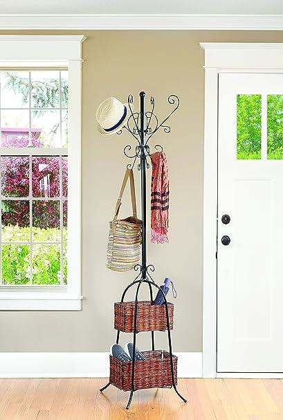 68u0026quot; Scroll Metal Tree Coat Rack With 2 Woven Wood Storage Baskets