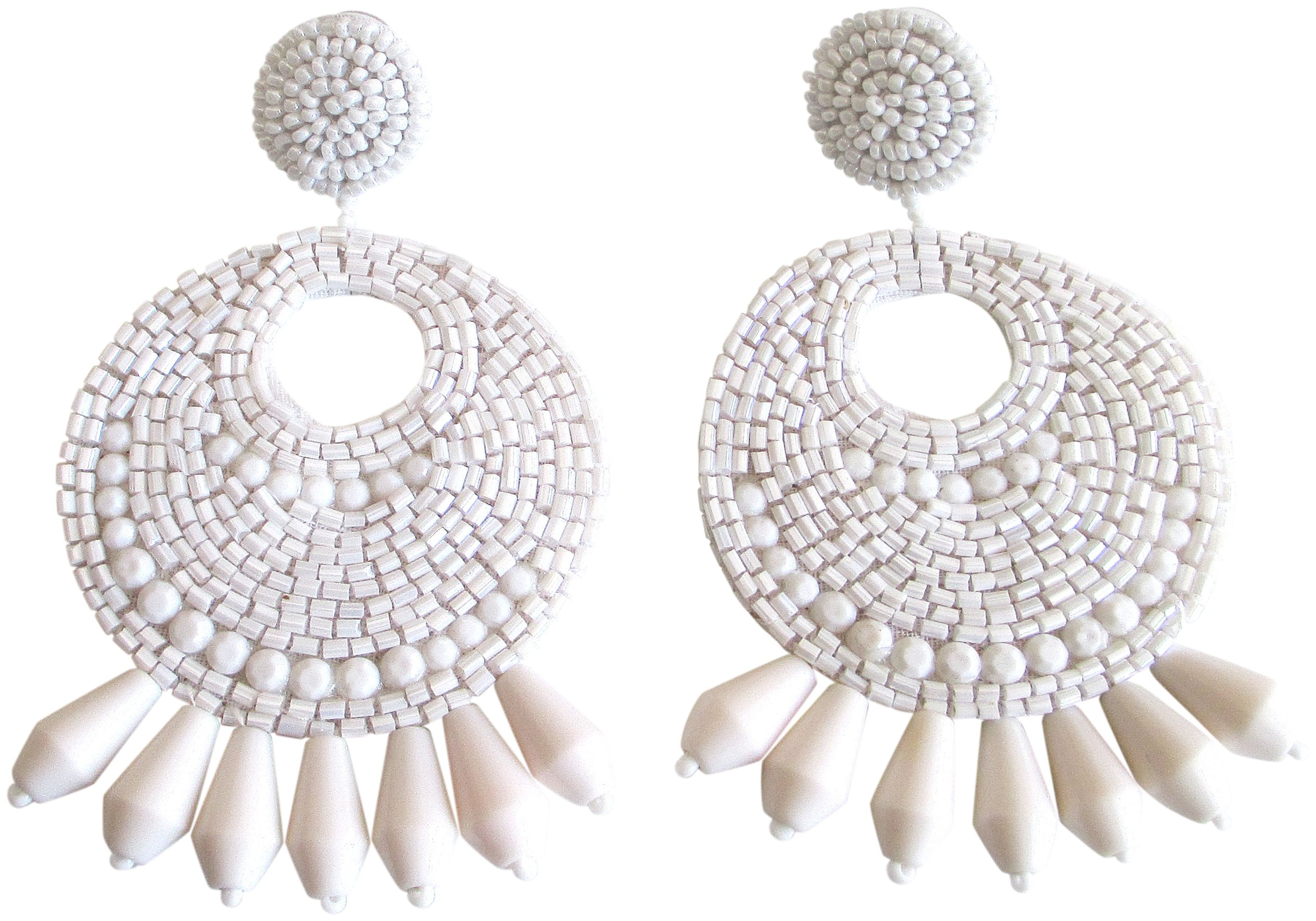 Kenneth Jay Lane White Gypsy Beaded Drop Clip On Earrings