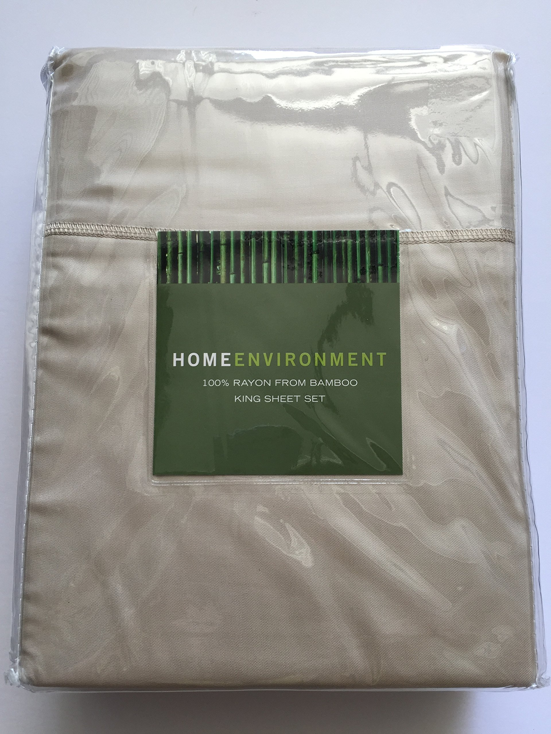 Home Environment King Sheet Set, Rayon from Bamboo, Beige Tan Taupe