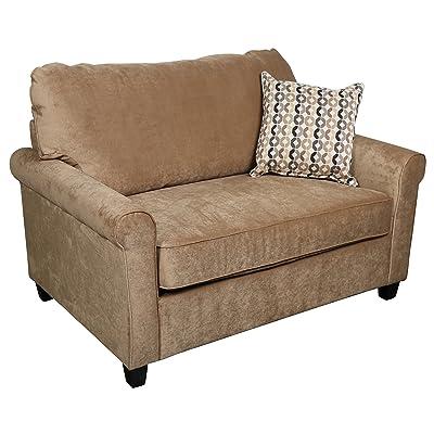 Porter Designs U1062 Serena Plush Microfiber Twin Sleeper Sofa, Khaki