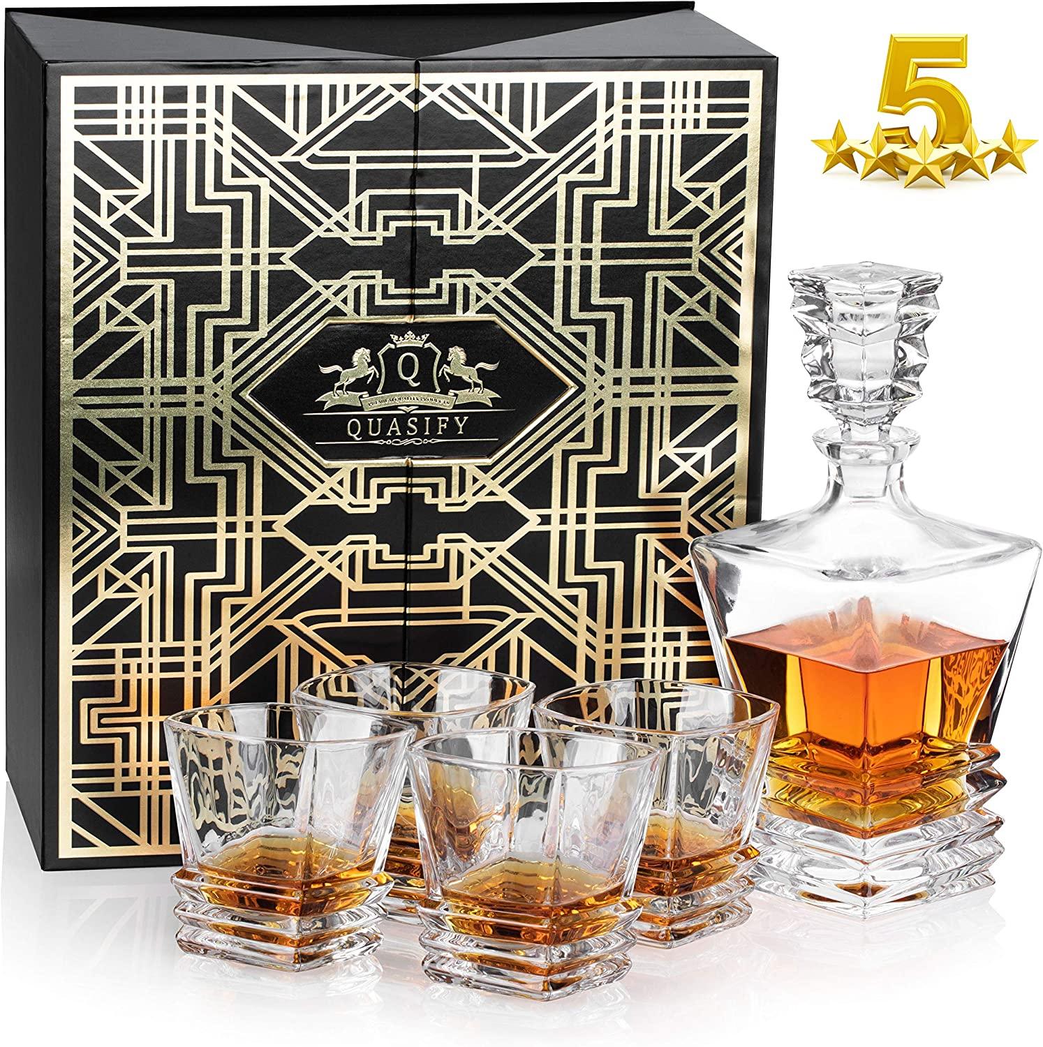 Quasify 5 Pieces Set In Luxury Gift Box - 1 Decanter And 4 Whiskey Glasses + A Whiskey Recipe And Secrets Book