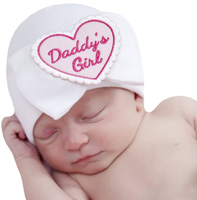 eed06f0099a Image Unavailable. Image not available for. Color  Melondipity Daddy s Girl  White Big Bow Newborn Girl Hospital Hat