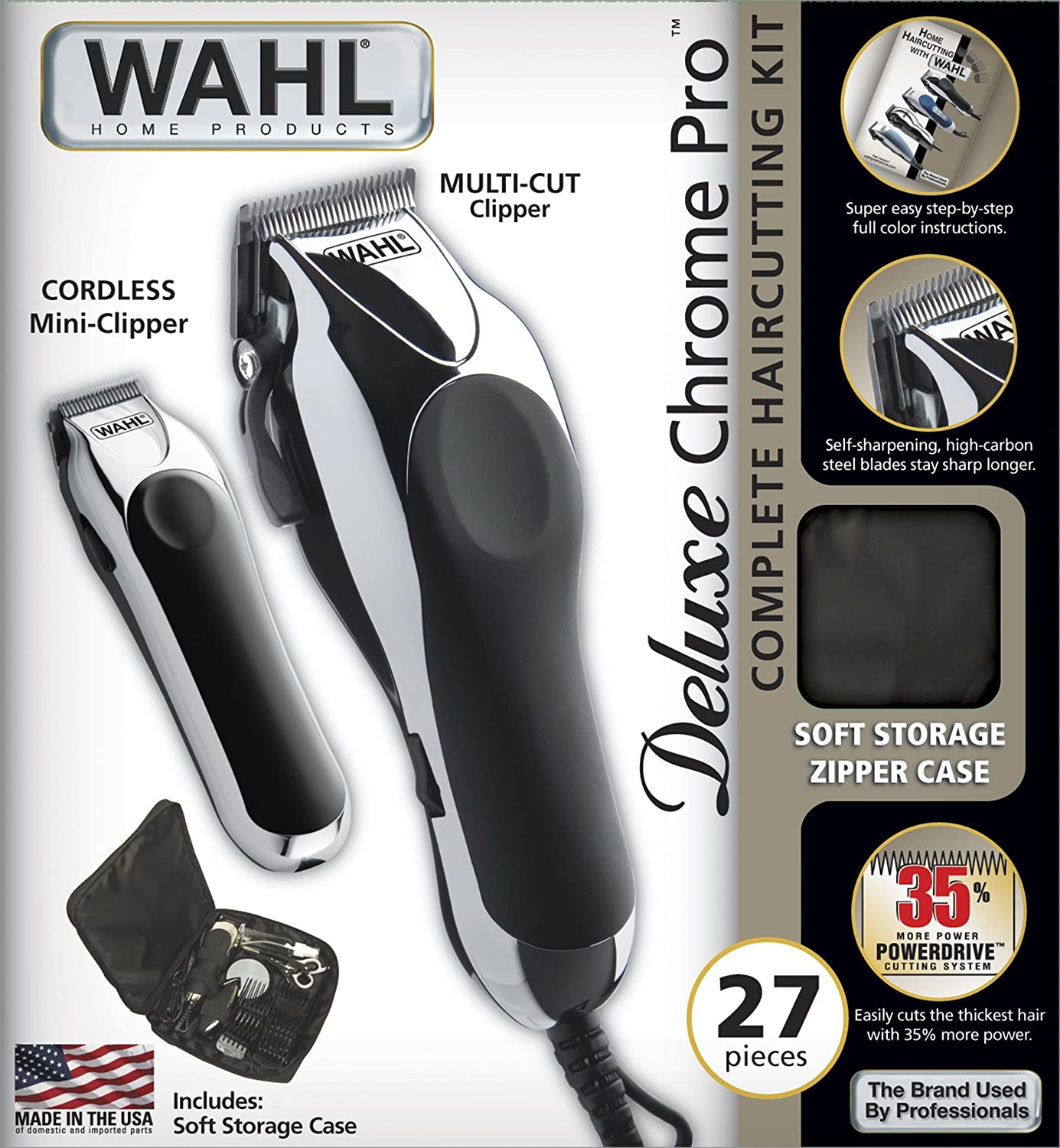 Amazon wahl 79524 1001 deluxe chrome pro with multi cut amazon wahl 79524 1001 deluxe chrome pro with multi cut clipper trimmer 27 pieces beauty solutioingenieria Image collections