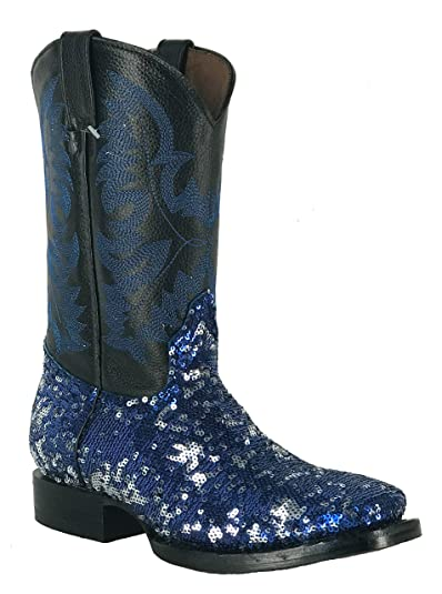 Women s New Fantastical Shimmering Sequin Western Cowgirl Biker Boots  Square Blue ... 59e6238140