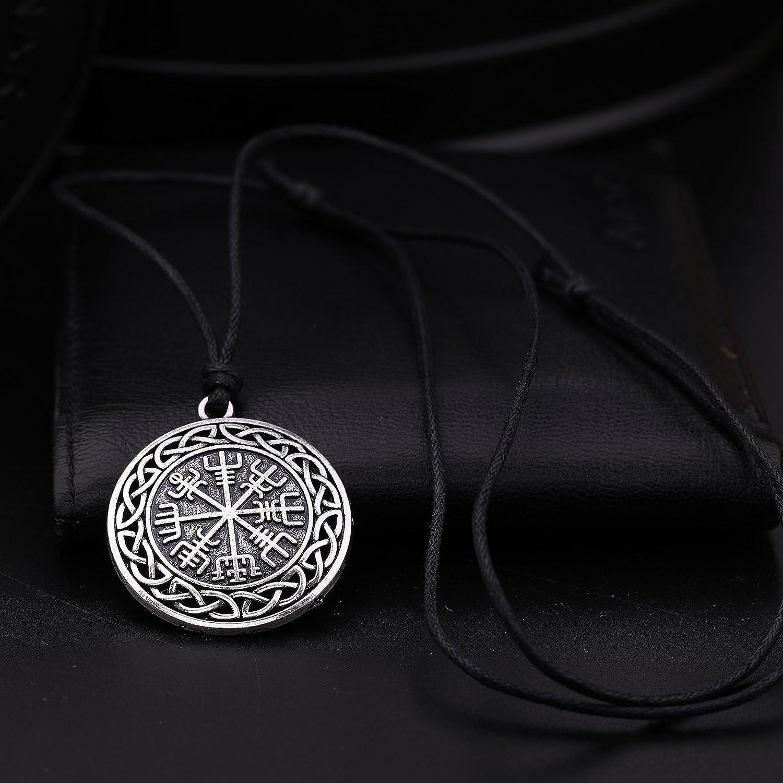 VASSAGO Vintage Norse Viking Vegvisir Compass Celtic Knot Pendant Talisman Necklace for Men Women
