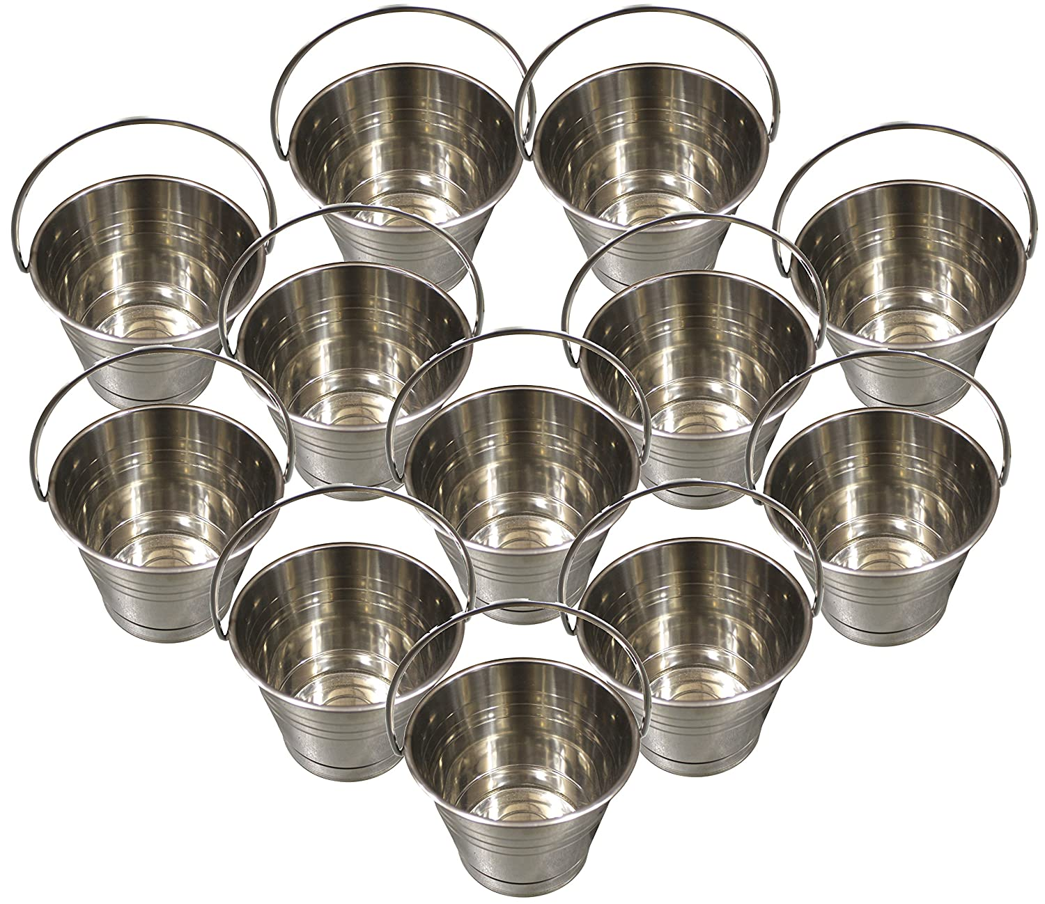Stainless Steel Buckets/Pails, 13cm Tall, Holds 6+ Cups of Water Each [12pcs] NWI