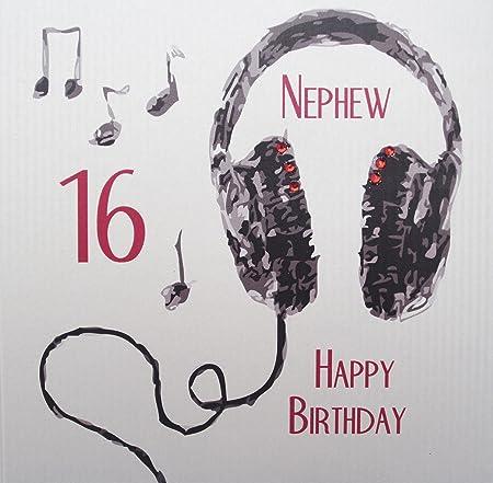 White Cotton Cards Handmade Nephew 16 Happy Birthday Headphones 16th