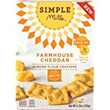 Simple Mills Farmhouse Cheddar Almond Flour Snack Crackers, Gluten Free, Natural 4.25 ounce (Pack of 3)