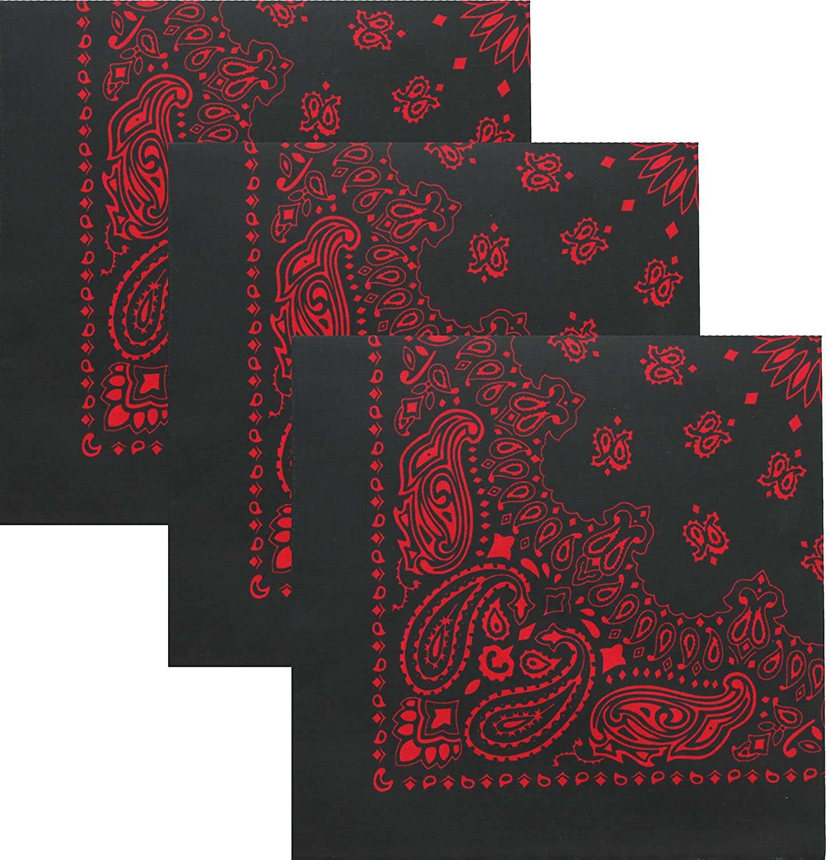 "Black /& Red Trainmen Paisley 100/% Cotton Biker Bandana 27/"" x 27/"""
