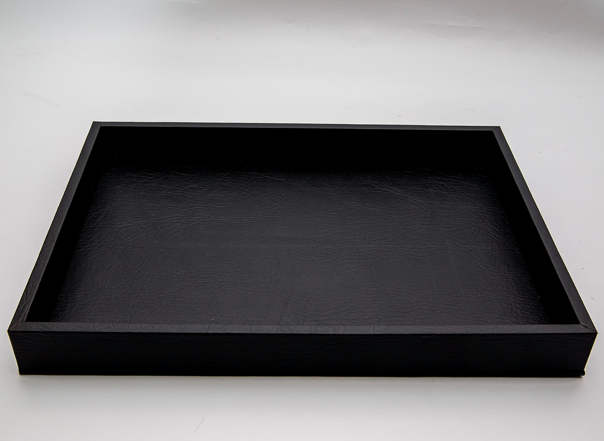 Leather Tray Made Of Wood - 18'' X 13'' - Black