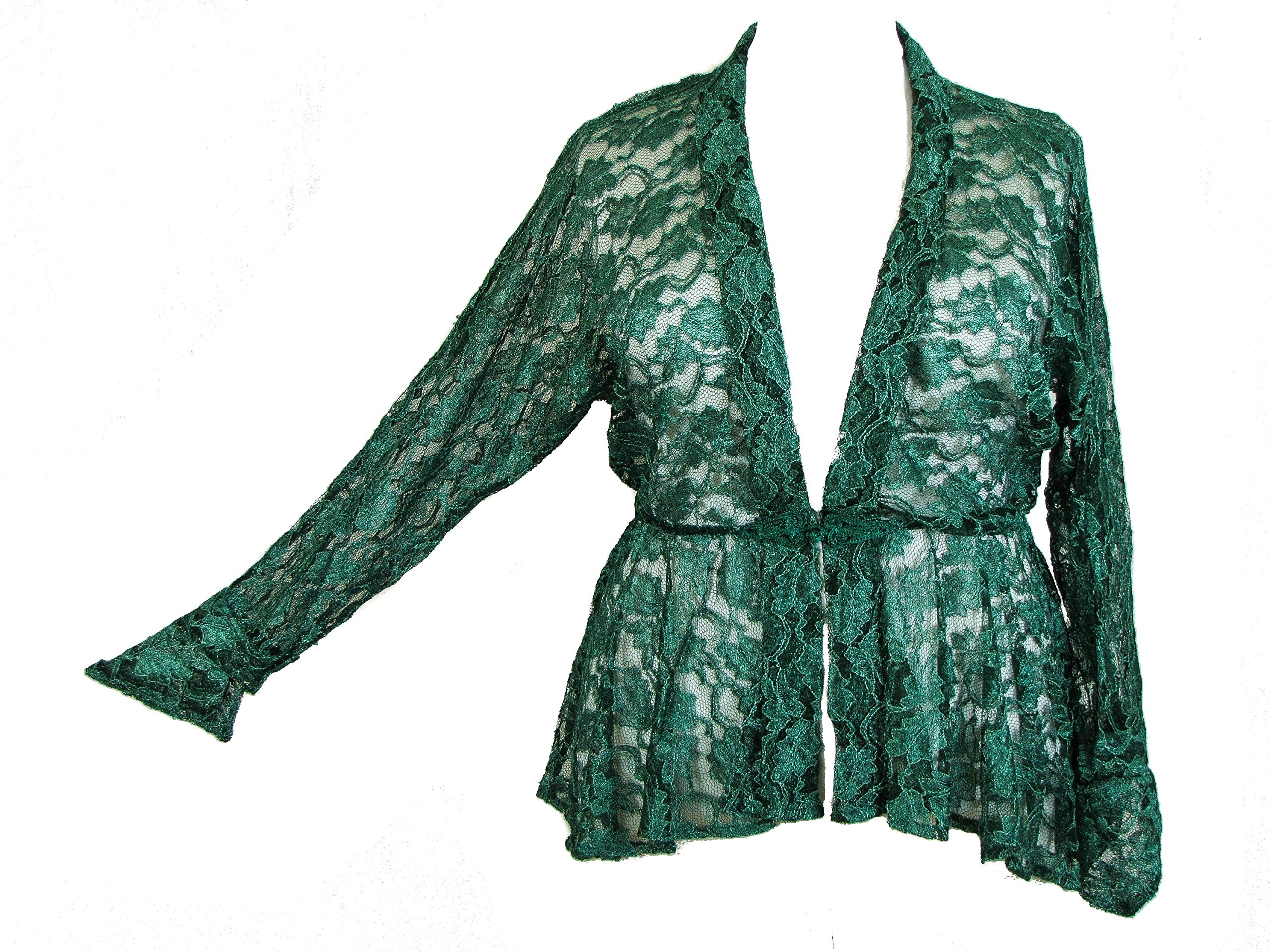 Dark Star Plus Size Green Lace Gothic Duster Jacket with Frog Fastening L-3X+