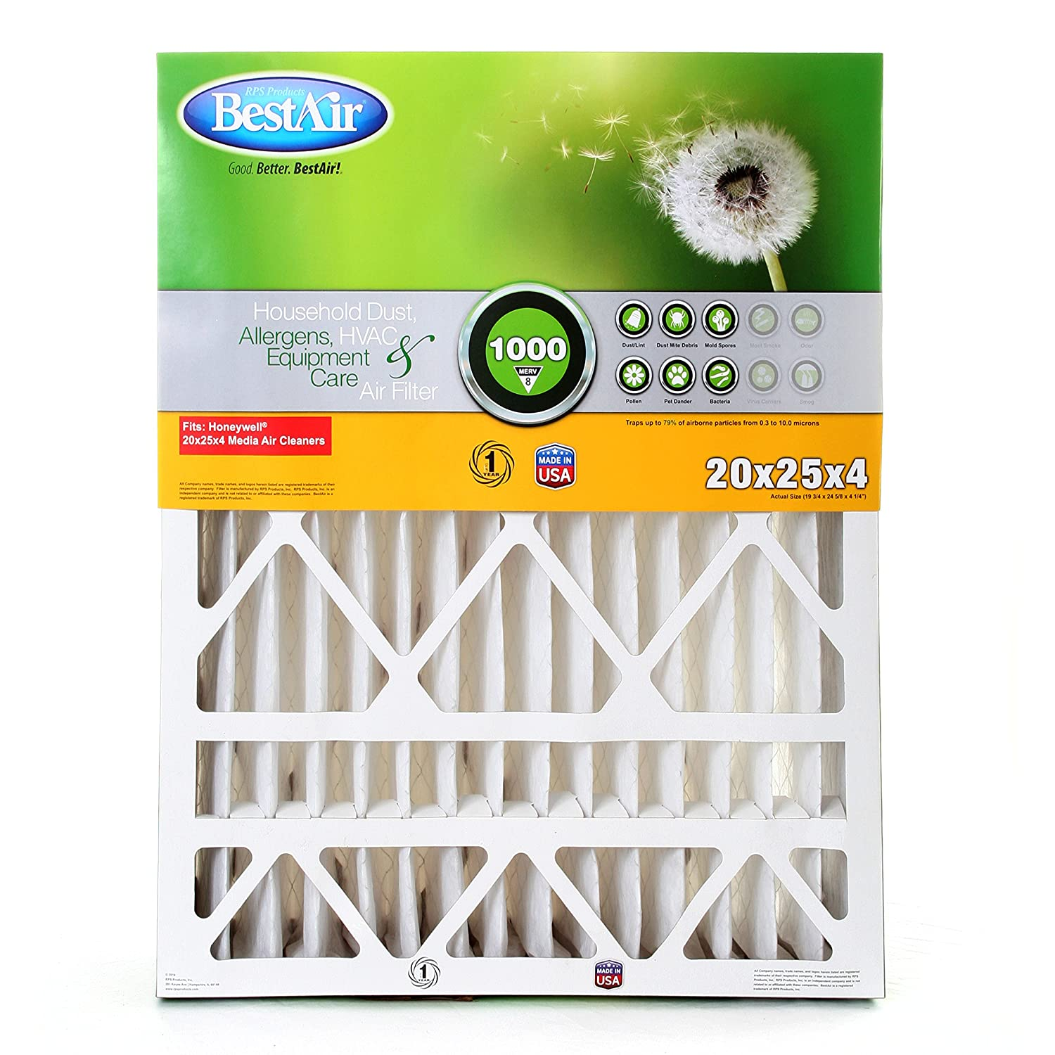 Best furnace air filters for allergies - Amazon Com Bestair Hw2025 8r Furnace Filter 20 X 25 X 4 Honeywell Replacement Merv 8 Home Kitchen