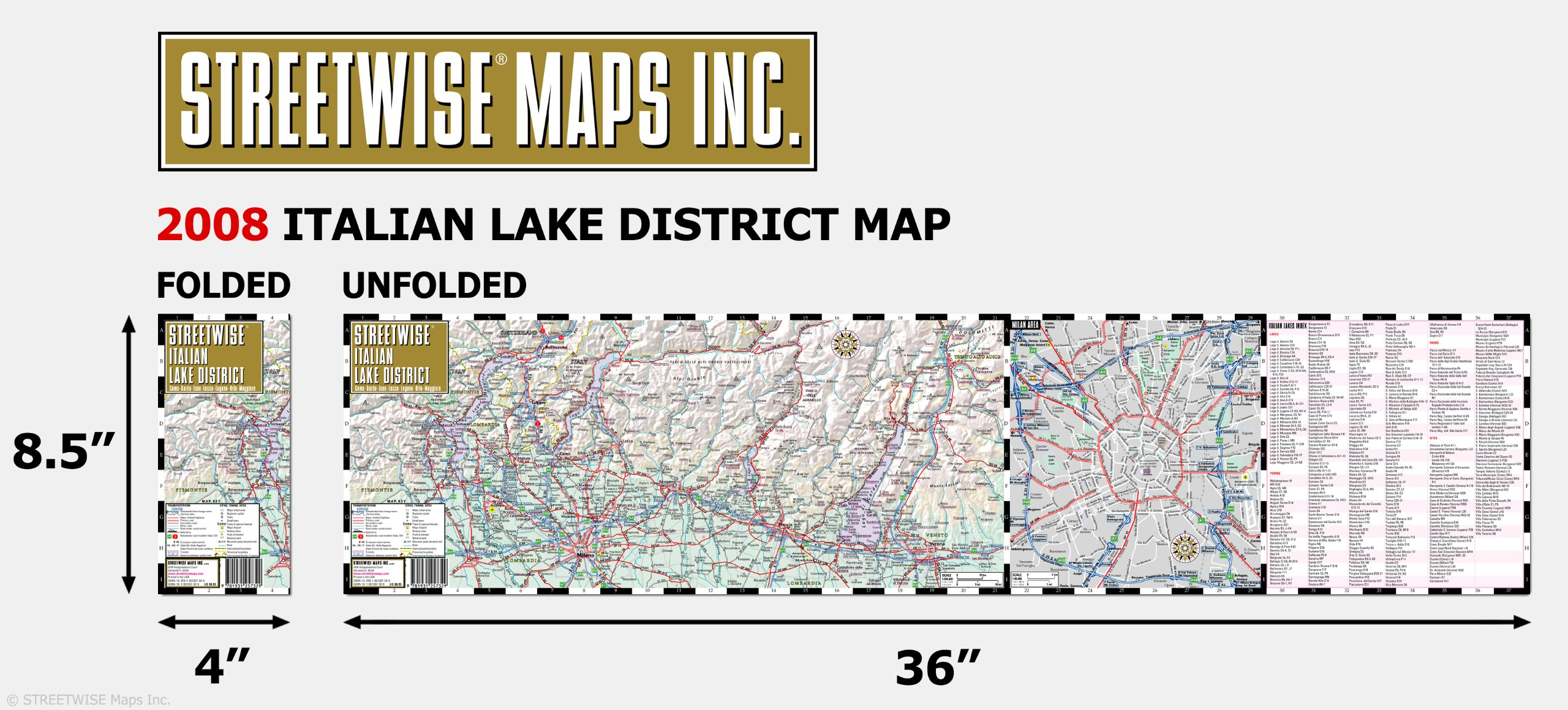 Streetwise Italian Lake District Map Laminated Regional Map Of The
